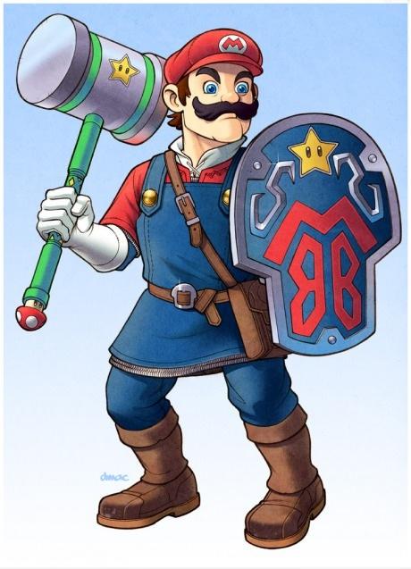 Mario de escudo e martelo de batalha =  épico!