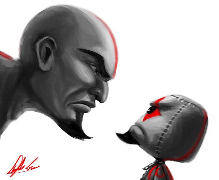 O Kratos Sackboy parece estar muito mais bravo!